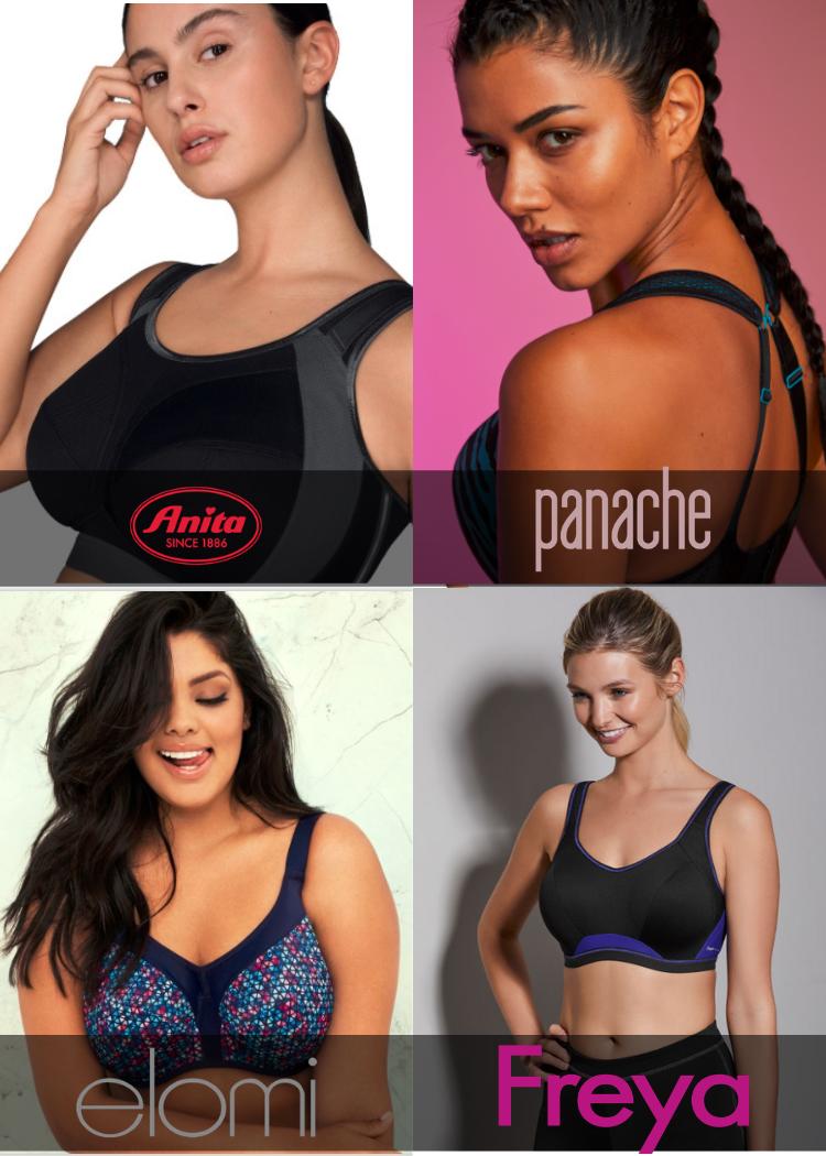 4 vrouwen in verschillende merken grote maten sportbh's